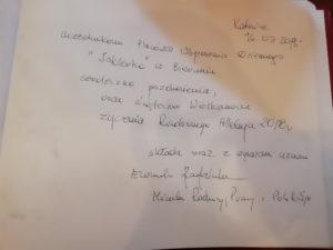 Wpis pani Minister Rodziny, Pracy iPolityki Społecznej Elżbiety Rafalskiej doksięgi pamiątkowej Świetlic